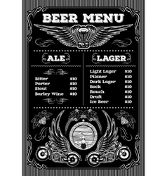 template for the beer menu on black background vector image