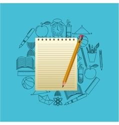 notebook and pencil school design vector image