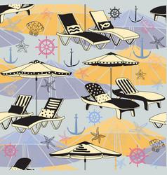 Summer beach seamless pattern lounge chair vector