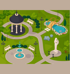 Park landscape isometric design composition vector