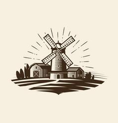 Farm rural landscape logo or label agriculture vector
