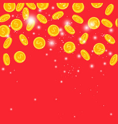 golden coins rain on red background vector image