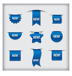 New labels blue vector