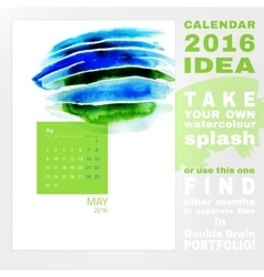 Calendar 2016 watercolor vector