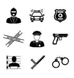 Set of monochrome police icons - gun car crime vector