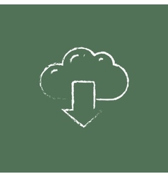 Cloud with arrow down icon drawn in chalk vector