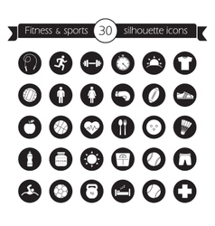 Fitness icons set black vector