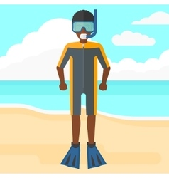 Man with swimming equipment vector