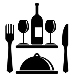 Wine bottle glasses serving tray fork knife vector