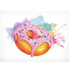 Donut with pink icing watercolor painting vector