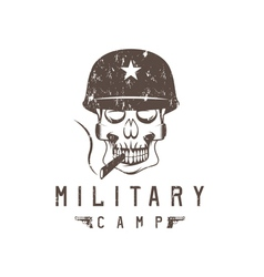 Military camp grunge emblem with smoking skull and vector