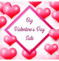 Big valentines day sale with pink square frame vector
