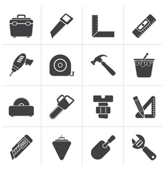 Black construction objects and tools icons vector