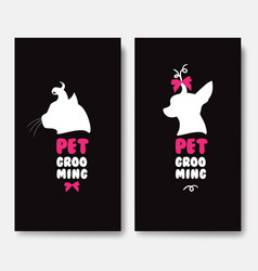 Business card template with silhouettes of cat and vector