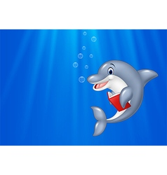 Cartoon dolphin reading book with deep sea vector
