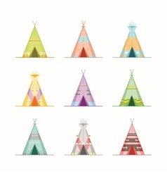 Cartoon wigwams or tepees icons set vector