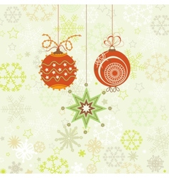 Christmas ornaments in red and green snowflakes vector image