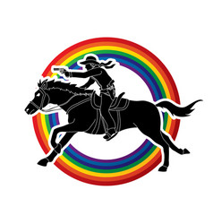 Cowboy riding horseaiming gun on line rainbows vector