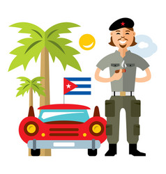 cuba travel concept flat style colorful vector image