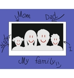 Drawn photo of a family vector