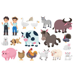 farmer and farm animal graphic elements vector image
