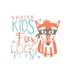 fox logo funny kids original design baby shop vector image