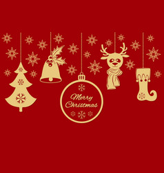 gold christmas pendants a bell with holly ball vector image