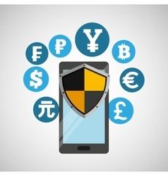 International money banking safe shield protection vector