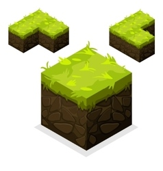 Isometric landscape cube unending land and grass vector