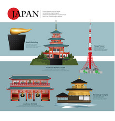 japan landmark and travel attractions vector image vector image