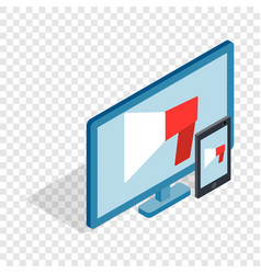 monitor and tablet isometric icon vector image vector image