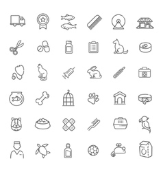 Outline web icon set - pet vet pet shop vector image