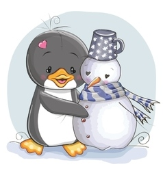 Penguin and snowman vector image vector image