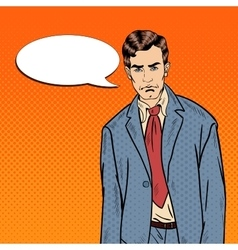 Pop art depressed businessman with speech bubble vector