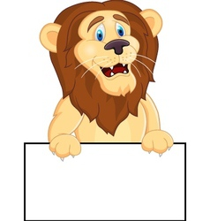 Printlion cartoon with blank sign vector image vector image