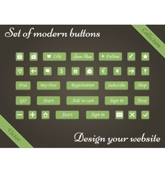 set of green buttons and web elements vector image