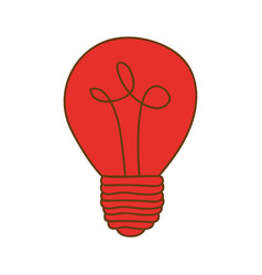 Silhouette of light bulb in red color vector