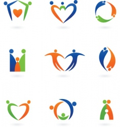Stylized people icons vector