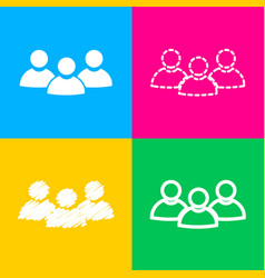 team work sign four styles of icon on four color vector image