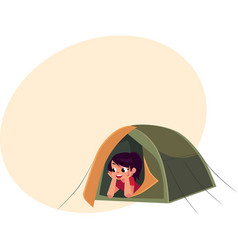 Teenage girl looking out of tourist tent camping vector