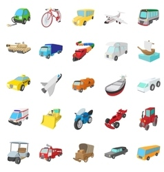 Transportation icons set cartoon style vector image vector image