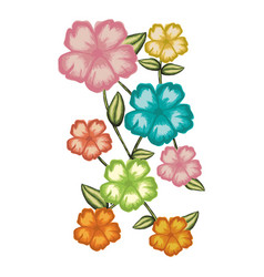 Watercolor card of malva flower with stem and vector