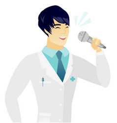 Young asian doctor singing to the microphone vector