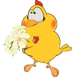 Chicken and flowers cartoon vector