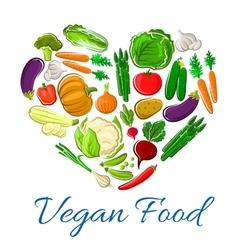 Vegetables heart veggies vegetarian poster vector