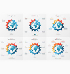 Set of gear wheel style chart template with globe vector