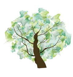 Green summer paint textured art tree vector