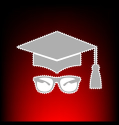 Mortar board or graduation cap with glass postage vector