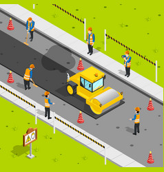 Asphalt laying isometric composition vector