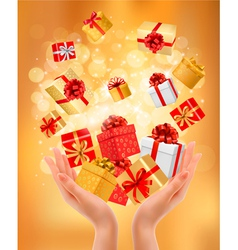 Holiday presents background vector
